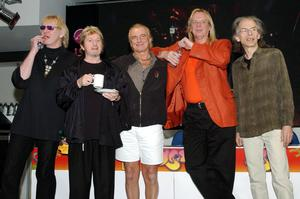 Chris Squire, Jon Anderson, Alan White, Rick Wakeman and Steve Howe of Yes (Yui Mok/PA)