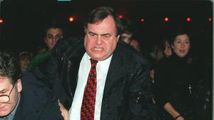 John Prescott pictured after being soaked by a member of Chumbawamba