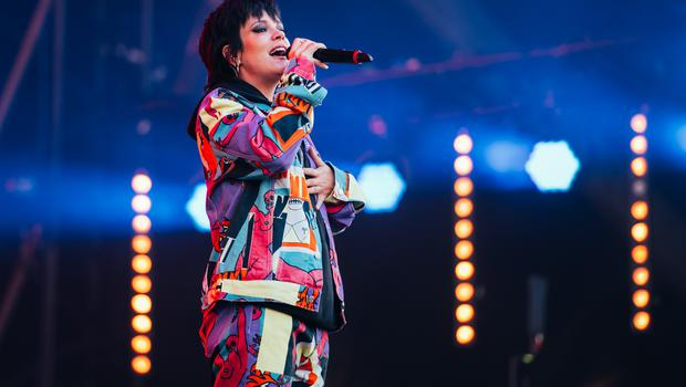 Lily Allen on stage at the Isle of Wight Festival 2019.