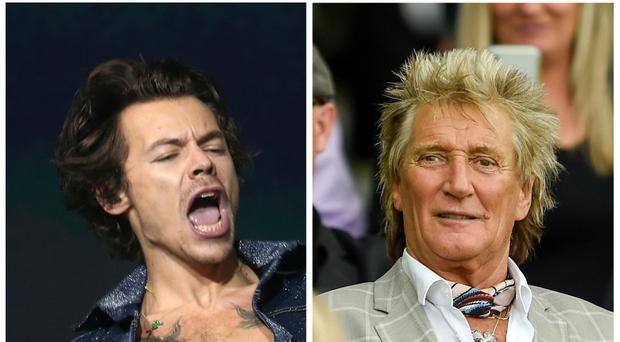 Harry Styles and Sir Rod Stewart (PA)
