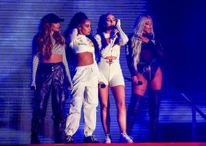 Little Mix on stage (Peter Byrne/PA)