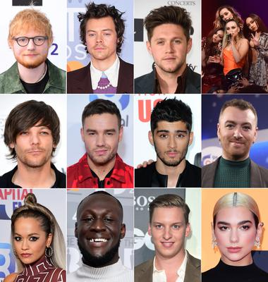 (l to r) Ed Sheeran, Harry Styles, Niall Horan and members of Little Mix (Middle row l to r) Louis Tomlinson, Liam Payne, Zayn Malik and Sam Smith. (Bottom row l to r) Rita Ora, Stormzy, George Ezra and Dua Lipa (PA)