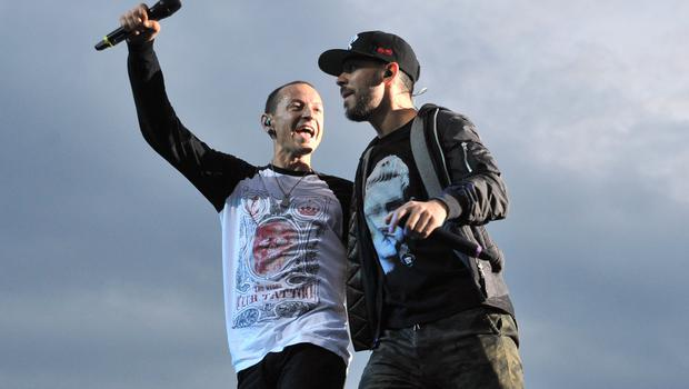 Mike Shinoda and Chester Bennington of Linkin Park pictured in 2014 before Bennington's death last year (Lewis Stickley/PA)