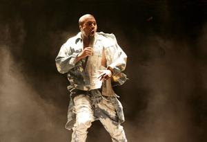 Kanye West performing on The Pyramid Stage at Glastonbury (Yui Mok/PA)