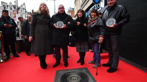 Amy Winehouse's family at the unveiling of the plaque (Victoria Jones/PA)