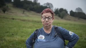 Jo Brand seen preparing in the Chilterns for her coast-to-coast walk from Hull to Liverpool