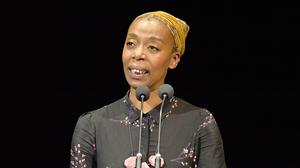 Noma Dumezweni reads a letter during the first night of the Letters Live series at the Freemasons' Hall, London