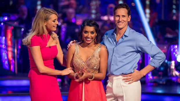 Sunetra Sarker and Brendan Cole with Tess Daly after they were voted off Strictly Come Dancing (BBC/PA)