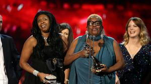 Sandra Martin and Sandy Channer accept the award for Best Factual Programme for Gogglebox at the 2015 National Television Awards at London's O2 Arena