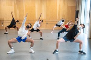 Students took part in a socially distanced dance session as classes resumed at Mountview Academy of Theatre Arts drama school (Dominic Lipinski/PA)