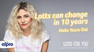 Pixie Lott recreates iconic milk-stache from 2010, with a mOAT-stache to celebrate the nation's love for plant based