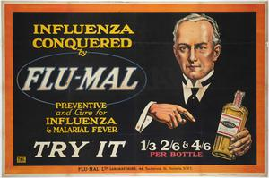 Objects from the Museum Of London's collection from past epidemics and pandemics include an early 20th Century advert which claimed to prevent and cure influenza and malaria (Museum Of London)