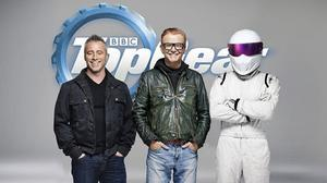 New Top Gear presenter Matt LeBlanc with Chris Evans and The Stig (Picture: BBC)