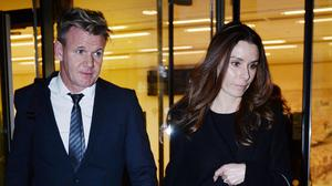 Chef Gordon Ramsay leaves the High Court in London with his wife Tana