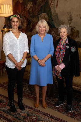 Bernardine Evaristo, left, is pictured with the Duchess of Cornwall and her fellow 2019 Booker prize winner Margaret Atwood (PA)