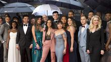 The cast of the musical Hamilton arriving for The Olivier Awards at the Royal Albert Hall in London (Isabel Infantes/PA)