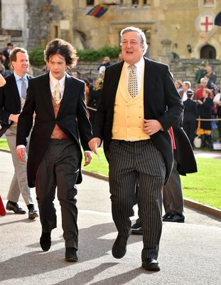 Elliott Spencer and Stephen Fry (Matt Crossick/PA)
