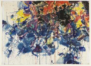 Sam Francis's Red, Black and Blue; Composition,1958 (Courtauld)