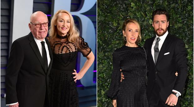Rupert Murdoch and Jerry Hall (left) and Sam Taylor-Johnson and Aaron Taylor Johnson (PA)