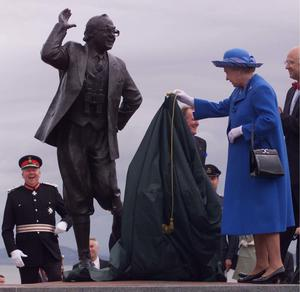 The statue of Eric Morecambe was unveiled by the Queen (PA)