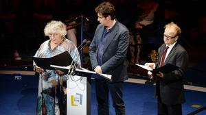 Left to right, Miriam Margolyes, Stephen Mangan and Toby Jones read their letters