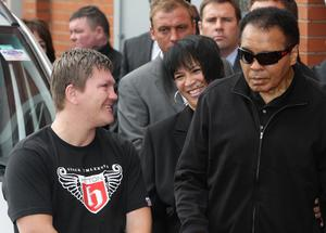 Ricky Hatton (left) and boxing legend Muhammad Ali (right) during a visit to Hatton's gym in Hyde, Manchester.