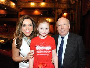 Director Julian Fellowes with Cinemagic chief executive Joan Burney Keatings and Libby Thompson