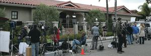 The media outside his home in California