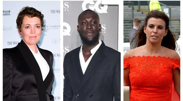 Olivia Colman, Stormzy and Coleen Rooney (PA)