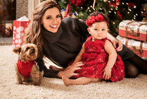 Former Girls Aloud star Nadine Coyle at home in Los Angeles, USA, with her daughter Anaiya, who appear in this week's edition of Hello! magazine