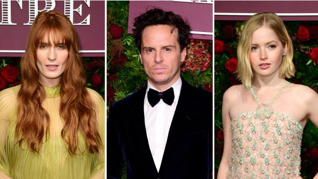 Florence Welch, Andrew Scott and Ellie Bamber (PA)
