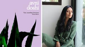 Avni Doshi with the cover of her book Burnt Sugar (2020 Booker Prize/Sharon Haridas)