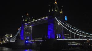 A number of landmarks were also lit up blue as a salute to NHS workers (Kirsty O'Connor/PA)
