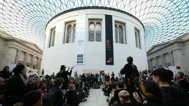 Greenpeace protesters inside the British Museum (Jonathan Brady/PA)