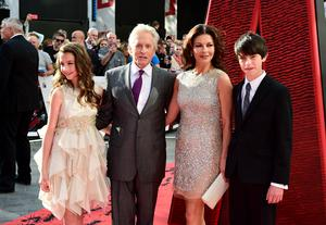 Michael Douglas and Catherine Zeta-Jones with their son Dylan and daughter Carys in 2015 (Ian West/PA)