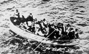 Survivors of the Titanic disaster in a crowded lifeboat.