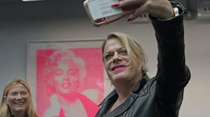 Eddie Izzard taking a selfie during a preview for the Icons exhibition at Riverside Studios in London (Luciana Guerra/PA)