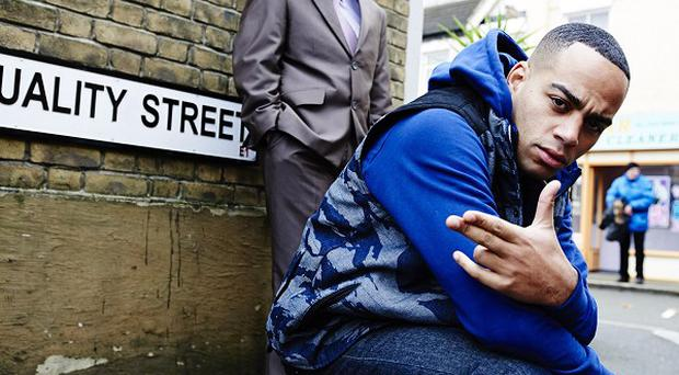 Ricky Gervais as David Brent and Doc Brown as rapper Dom Johnson in the Comic Relief special