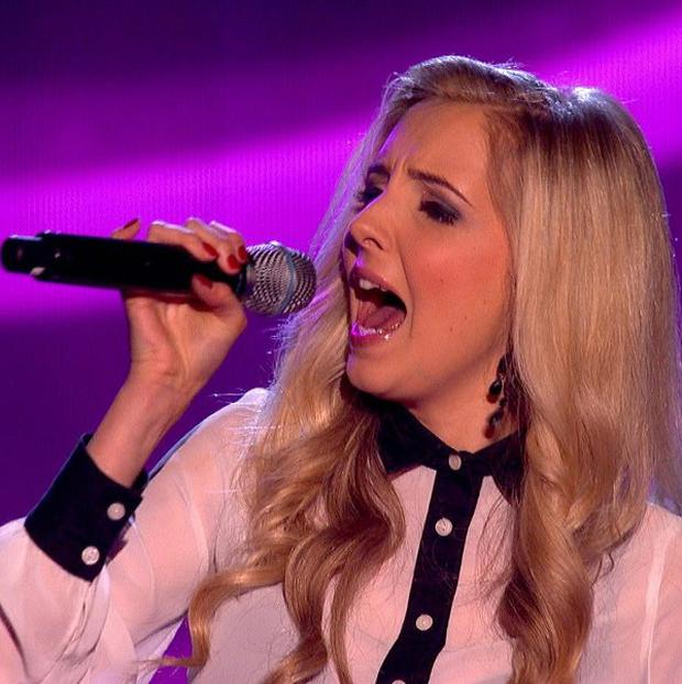 Former Hollyoaks actress Alice Barlow during her performance on The Voice (BBC/PA)