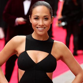 Myleene Klass arrives for the Olivier Awards at the Royal Opera House in Covent Garden, central London