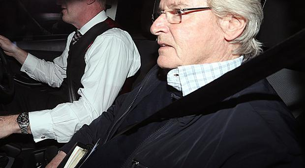 Bill Roache arriving home in Cheshire after it was announced that he has been arrested