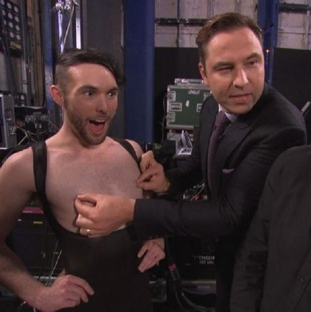 David Walliams can't resist a tweak backstage on Britain's Got Talent