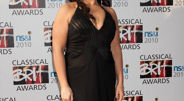 Jodie Prenger arrives for the Classical Brit Awards at the Royal Albert Hall in west London.