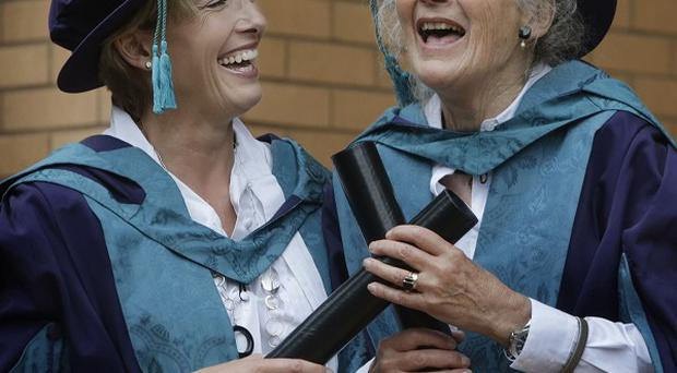 Emma Thompson and her mother Phyllida Law joked around as they received honorary degrees