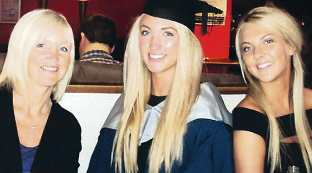 Leah at her graduation with mum Lorraine and sister Jodie