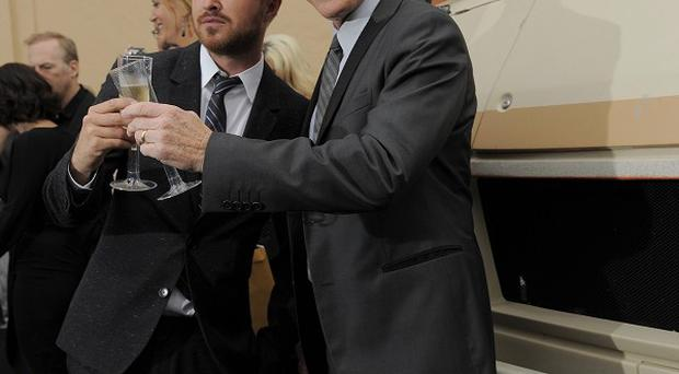 Breaking Bad cast members Aaron Paul and Bryan Cranston turned up in the show's campervan