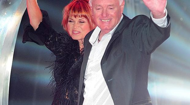 Vicky Entwistle and Bruce Jones entering the Celebrity Big Brother House