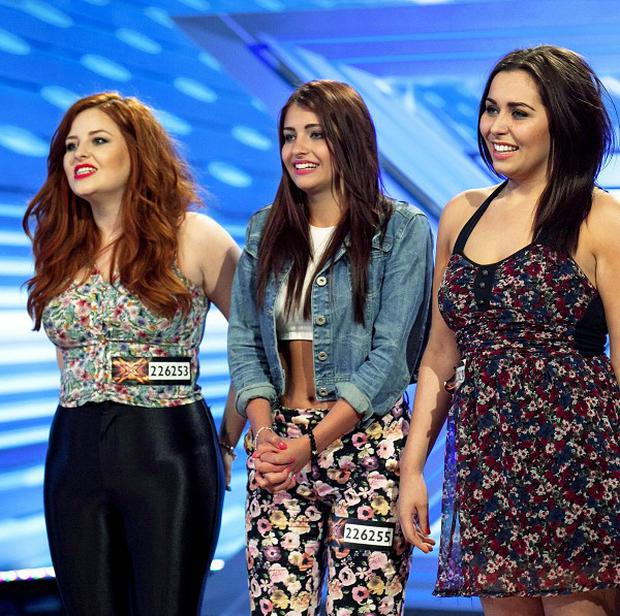 The Daisy Chains with Hannah Sheares (centre), during auditions for The X Factor