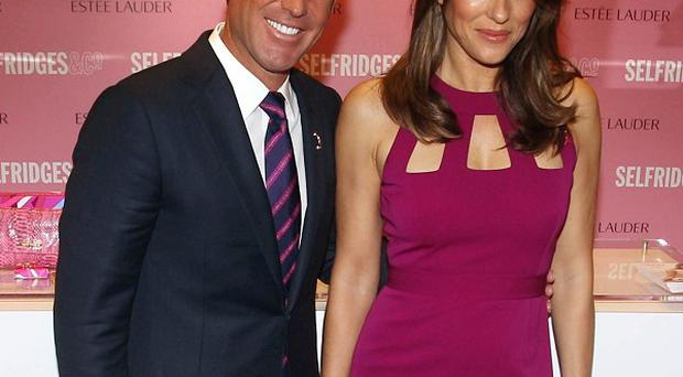 Shane Warne and Elizabeth Hurley have been pictured having a family lunch together