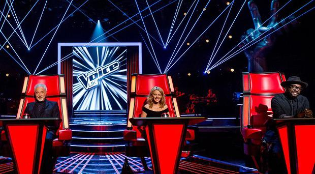 Ricky Wilson of the Kaiser Chiefs, Sir Tom Jones, Kylie Minogue and Will.I.Am on the first day of filming series 3 of The Voice